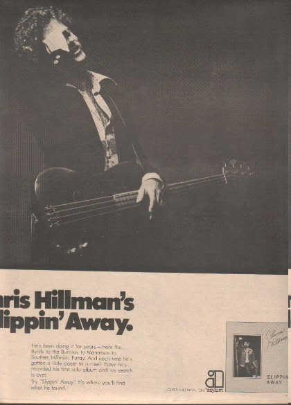 * 1976 CHRIS HILLMAN SLIPPIN AWAY POSTER TYPE AD