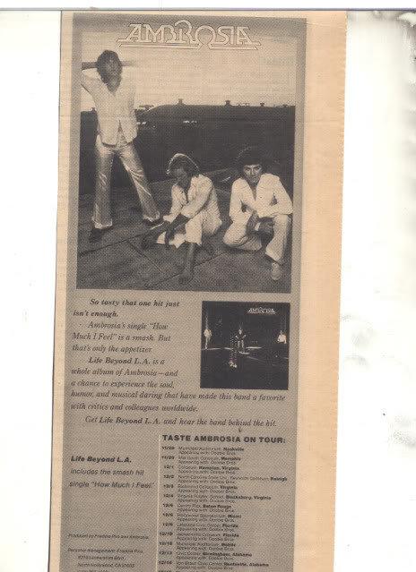 * 1978 AMBROSIA PROMO TOUR AD