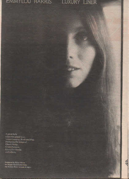 * 1977 EMMYLOU HARRIS LUXURY LINER POSTER TYPE AD