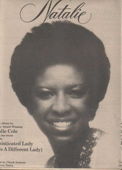 * 1976 NATALIE COLE POSTER TYPE PRINT AD