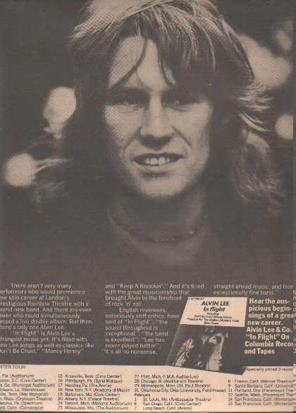 * 1975 ALVIN LEE IN FLIGHT PROMO TOUR AD