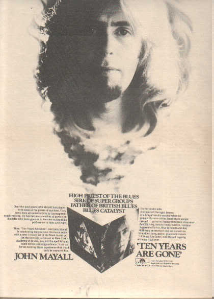 * 1973 JOHN MAYALL TEN YEARS ARE GONE POSTER TYPE AD