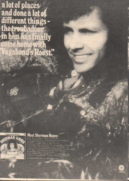 * 1973 SHERMAN HAYES POSTER TYPE TOUR AD
