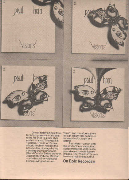 * 1974 PAUL HORN VISIONS POSTER TYPE PROMO AD