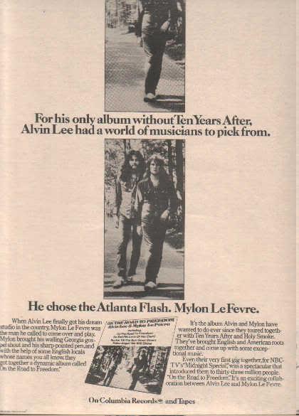 * 1974 ALVIN LEE POSTER TYPE PROMO AD