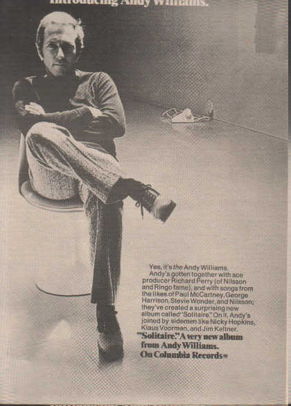 * 1974 ANDY WILLIAMS SOLITAIRE POSTER TYPE PROMO AD