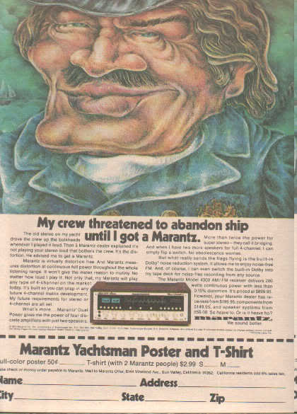 * 1974 MARANTZ 4300 RECEIVER YACHTSMAN SHIP CAPTAIN AD