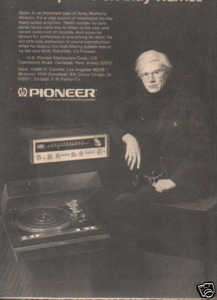 * 1973 ANDY WARHOL PIONEER POSTER TYPE AD