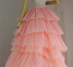 High Low Tiered Tulle Skirt Layered Tulle Skirt with Train Blush Bridal Gowns image 3