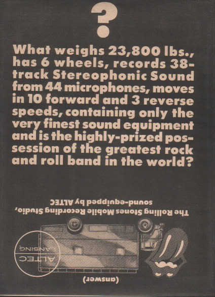 * 1975 ROLLING STONES MOBILE STUDIO POSTER TYPE AD