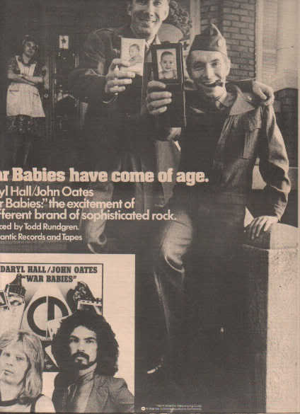 * 1974 DARYL HALL JOHN OATES WAR BABIES PROMO AD