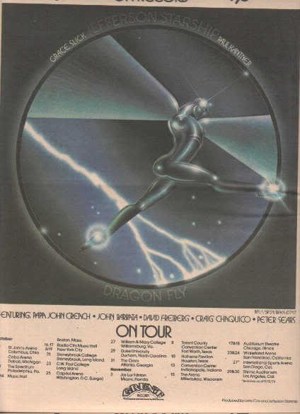 * 1974 JEFFERSON STARSHIP POSTER TYPE TOUR AD