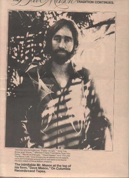* 1974 DAVE MASON POSTER TYPE PROMO AD