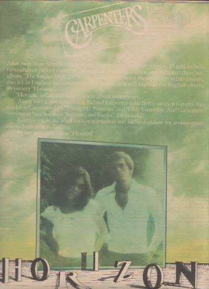 * 1975 CARPENTERS HORIZON POSTER TYPE PROMO AD