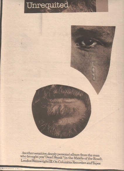 * 1975 LOUDON WAINWRIGHT III POSTER TYPE PROMO AD