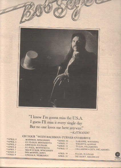 * 1975 BOB SEGER BEAUTIFUL LOSER POSTER TYPE TOUR AD