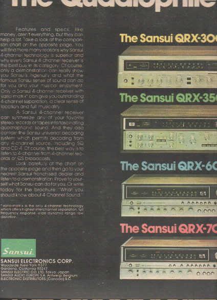 * 1975 SANSUI RECEIVER QRX-7001 6001 3500 3000 AD 2-PG