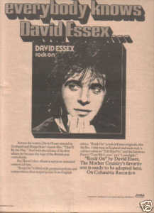 * 1974 DAVID ESSEX ROCK ON POSTER TYPE AD
