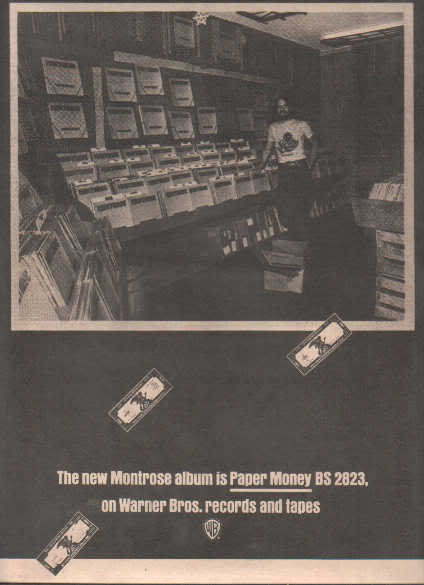 * 1974 MONTROSE PAPER MONEY POSTER TYPE PROMO AD