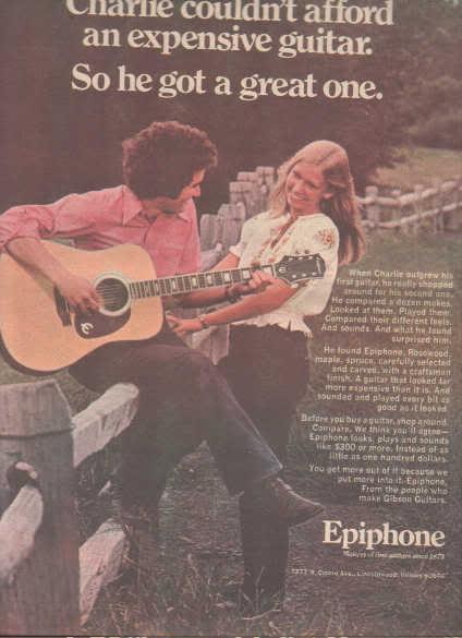* 1974 EPIPHONE GUITAR POSTER TYPE PROMO AD