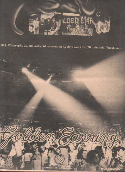 * 1974 GOLDEN EARRING MOONTAN POSTER TYPE AD