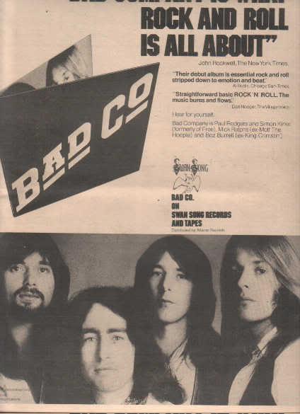 * 1974 BAD COMPANY POSTER TYPE PROMO AD