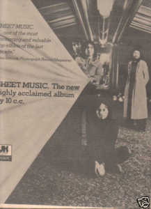 * 1974 10CC 10 CC SHEET MUSIC POSTER TYPE AD