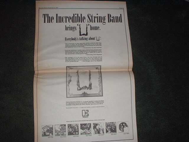 * 1971 INCREDIBLE STRING BAND POSTER TYPE PROMO AD