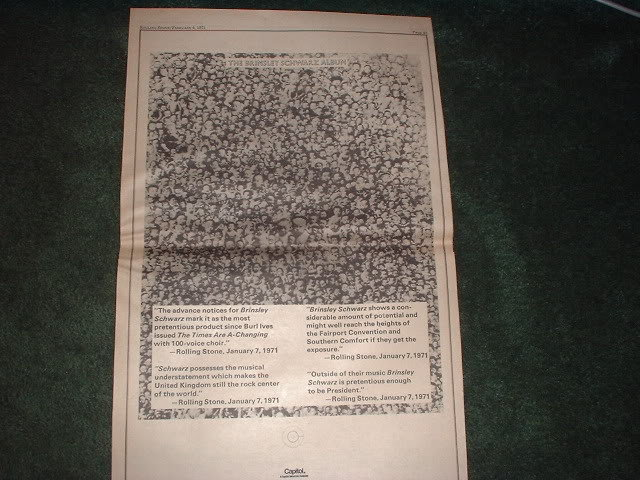 * 1971 BRINSLEY SCHWARZ POSTER TYPE PROMO AD