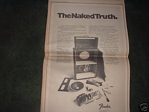 * 1972 FENDER AMP AMPLIFIER POSTER TYPE PROMO AD