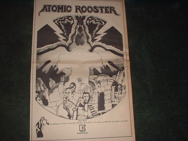 * 1972 ATOMIC ROOSTER POSTER TYPE PROMO AD