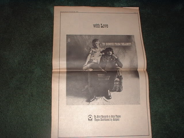 * 1970 DELANEY AND BONNIE POSTER TYPE PROMO AD