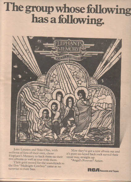 * 1974 ELEPHANT MEMORY POSTER TYPE PROMO AD