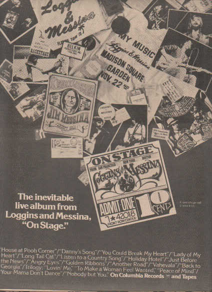 * 1974 LOGGINS & MESSINA LIVE POSTER TYPE PROMO AD