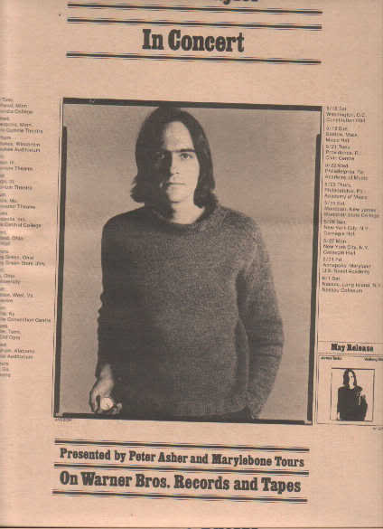 * 1974 JAMES TAYLOR CONCERT POSTER TYPE PROMO AD