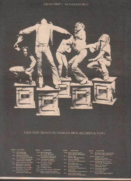 * 1974 URIAH HEEP WONDERWORLD POSTER TYPE TOUR AD