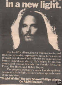 * 1974 SHAWN PHILLIPS BRIGHT WHITE POSTER TYPE AD