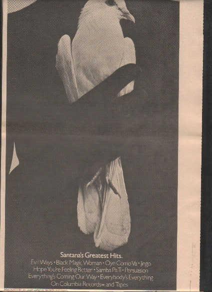 * 1974 SANTANA CARLOS SANTANA GREATEST PROMO AD