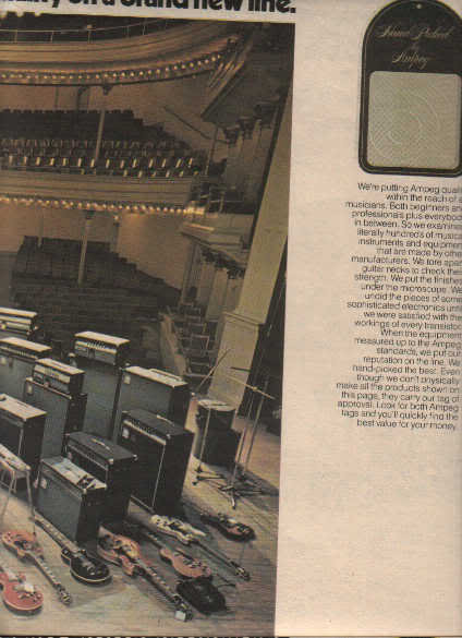 * 1977 AMPEG APLIFIER- GUITAR POSTER TYPE AD 4-PAGE