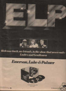 * 1974 EMERSON LAKE & PALMER POSTER TYPE AD