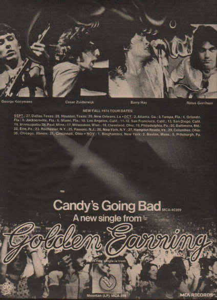 * 1974 GOLDEN EARRING POSTER TYPE TOUR AD WITH DATES