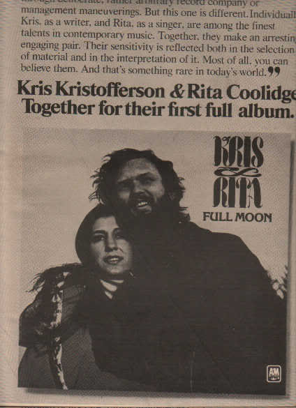 * 1973 KRIS KRISTOFFERSON RITA COOLIDGE PROMO AD