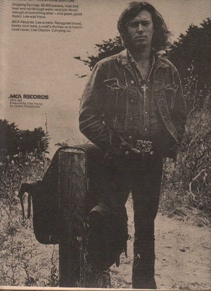 * 1973 LEE CLAYTON POSTER TYPE PROMO AD