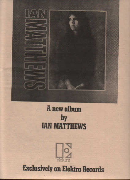 * 1973 IAN MATTHEWS VALLEY HI POSTER TYPE AD