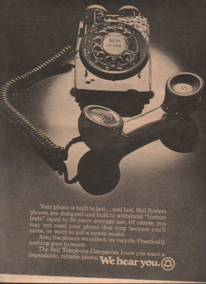 * 1974 BELL TELEPHONE POSTER TYPE AD