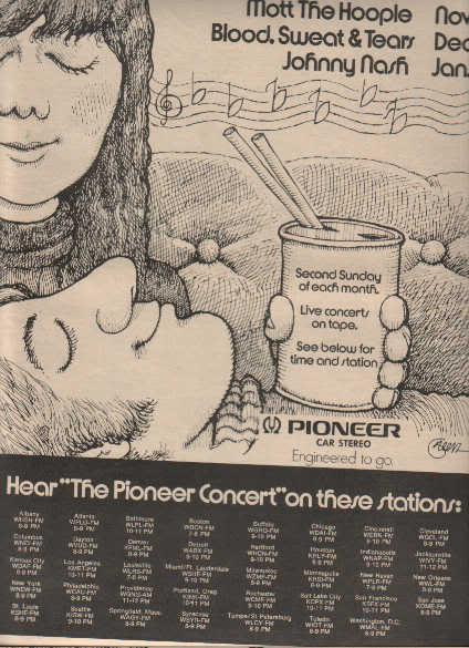 * 1973 PIONEER CONCERT MOTT THE HOOPLE POSTER TYPE AD