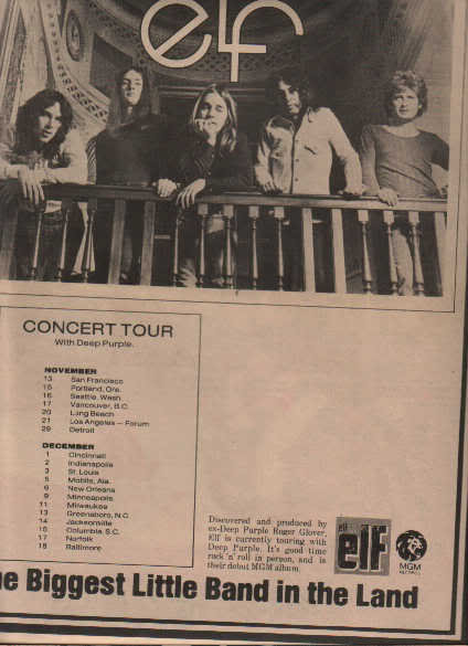 * 1974 ELF POSTER TYPE TOUR AD WITH DATES