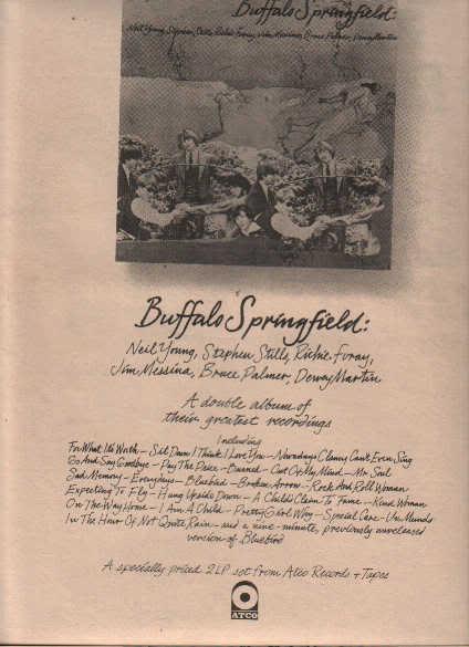 * 1974 BUFFALO SPRINGFIELD POSTER TYPE PROMO AD