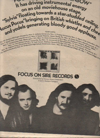 * 1973 FOCUS POSTER TYPE TOUR AD WITH DATES