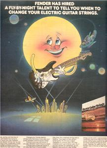 1974 FENDER GUITAR STRINGS POSTER TYPE AD